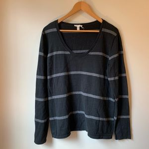 Eileen Fisher Black and Grey Striped Sweater